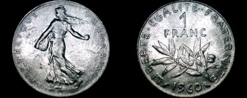 1960 French 1 Franc World Coin - France