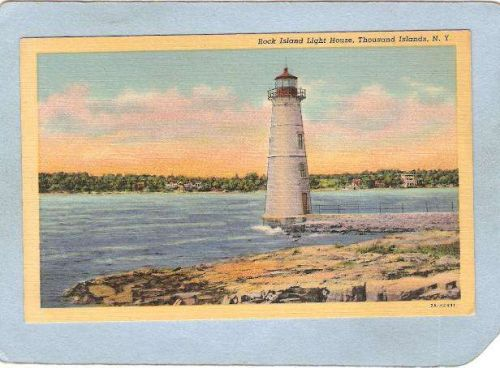 New York Thousand Islands Lighthouse Postcard Rock Island Light House ligh~813