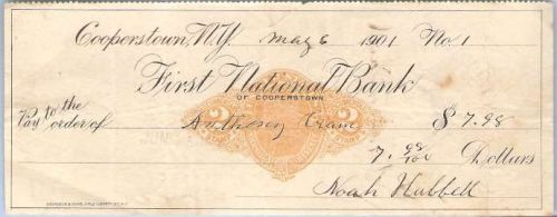 New York Cooperstown Cancelled Check First National Bank of Cooperstown Ch~34