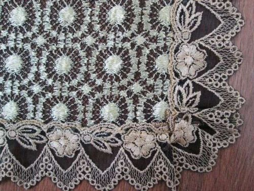 Lace Black & Gold Doily Floral Table Runner 36 x 122 cm + Placemats 32 x 84,RARE