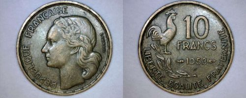 1953-B French 10 Franc World Coin - France