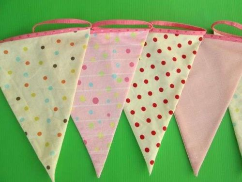 Hanging Spot Polka Dot Fabric Bunting Double Sided Wedding Banner 12 Flags 3.6 m