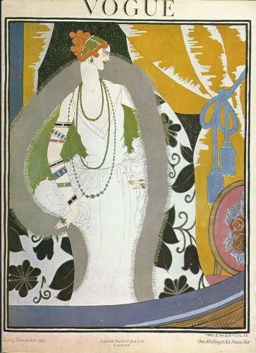 Vogue 1921 Cover Print Lady Fashion Curtains Art Deco 1984 original print