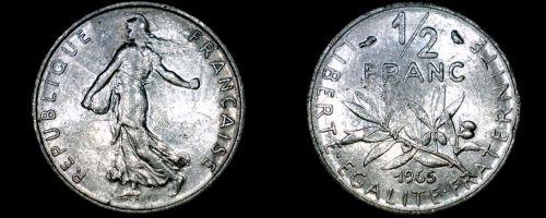1965 French Half (1/2) Franc World Coin - France