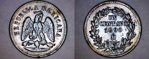 1890-Mo Mexican 1 Centavo World Coin - Mexico