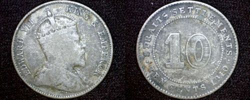 1910 Straits Settlements 10 Cent World Silver Coin - British East India Company