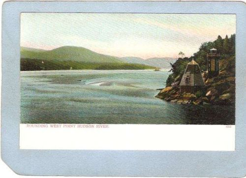 New York West Point Lighthouse Postcard Rounding West Point Hudson River l~774