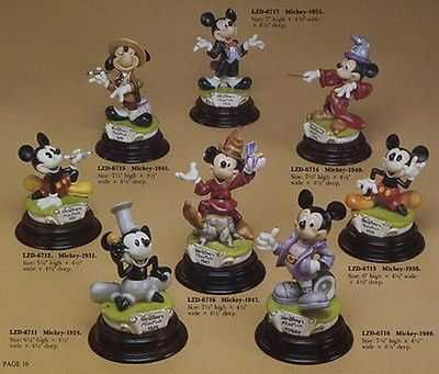 Disney Mickey Mouse 8 Piece Set Capodimonte Laurenz figurines C.O.A MIB.
