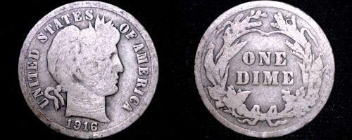1916-P Barber Dime Silver