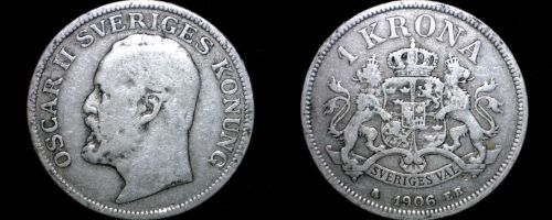 1906 Sweden 1 Kronor Krona World Silver Coin