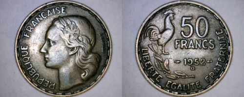 1952-B French 50 Franc World Coin - France