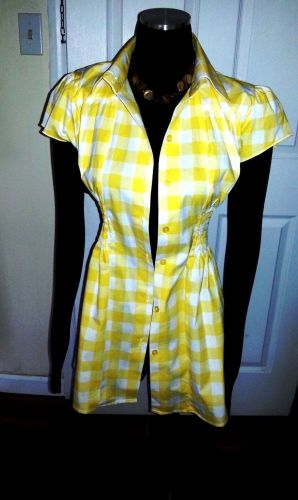 NEW Career Shirt 100% Cotton Short Sleeve Yellow plaid by *Mega Wear*-Women's L