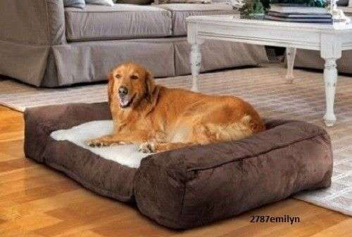 Large Dog Beds Pet Cushion Lounger Pillow Memory Foam Fleece Sleep Pad Suede