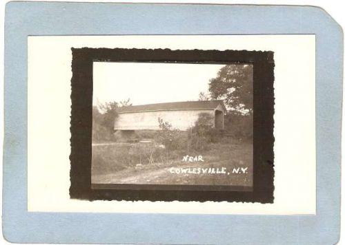 New York Cowlesville Covered Bridge Postcard Covered Bridge Real Photo Pos~1067