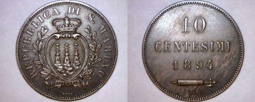 1894-R San Marino 10 Centesimi World Coin