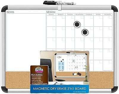"Dry Erase White Board Dudes 17"" x 23"" Aluminum Classroom Framed Magnetic Cork W/"