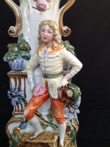 antique porcelain German Vase. Jugendstil +/- 1900. Marked