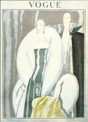 Vogue 1921 Cover Print Lady Man Fashion Suit Art Deco 1984 original print