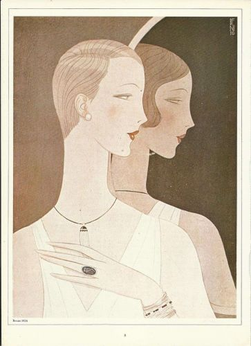 Vogue 1926 Cover Print Two Ladies by Benito Art Deco 1984 original print