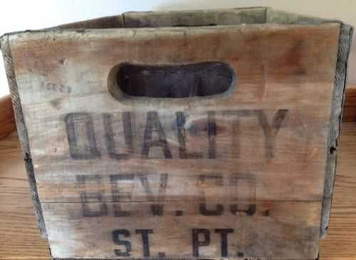 Vintage Quality Beverage Co. Wood Beer Crate With Metal Bands - Stevens Point,WI