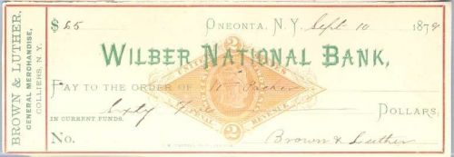 New York Oneonta Cancelled Check Wilber National Bank Check # Dated: Septe~26
