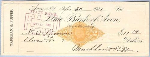 New York Avon Cancelled Check State Bank of Avon Check # Dated: April 30, ~29