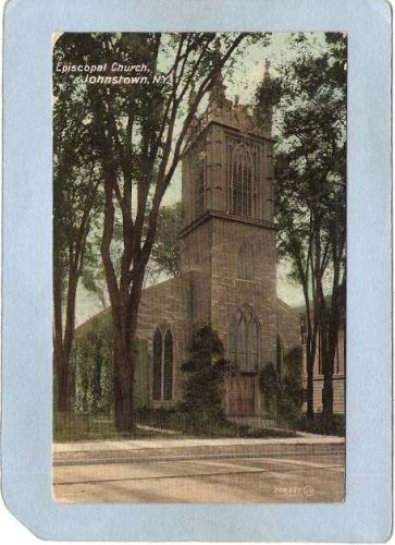 New York Johnstown Episcopal Church Street Scene w/Trolley Track ny_box5~2037
