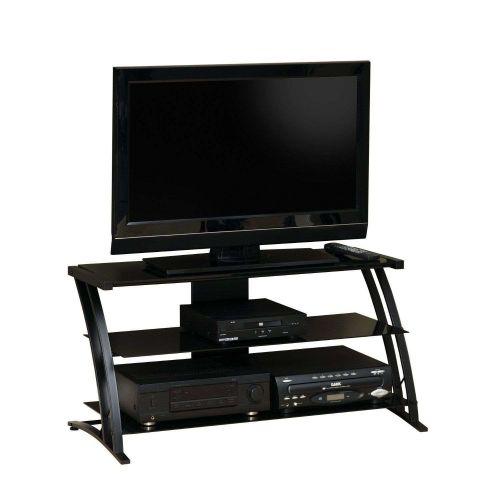 TV Stand Entertainment Media Center Modern 42' Inch Flat Panel LCD Black Glass