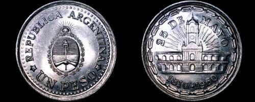 1960 Argentina 1 Peso World Coin - 1810 Revolution