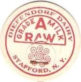 New York Stafford Milk Bottle Cap Name/Subject: Diefendorf Dairy MBCBag1~416