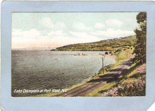 New York Port Kent Lake Champlain At Port Kent w/R R Tracks ny_box5~1391