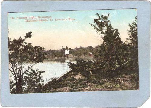 New York Thousand Islands Lighthouse Postcard The Narrows Light Ganaoque S~815