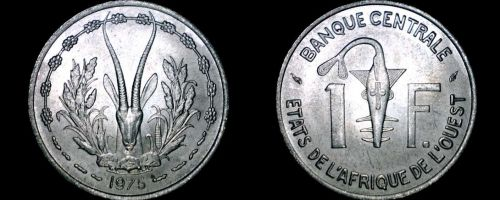 1975 West African 1 Franc World Coin - West African States