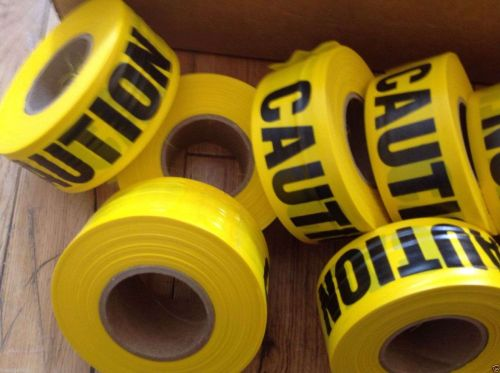 """2 pack - """"CAUTION"""" FLAGGING Tape 1 3/16"""" X300 foot roll -Free Ship USA Seller"""