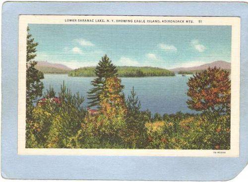 New York Saranac Lake Lower Saranac Lake Showing Eagle Island ny_box5~1923