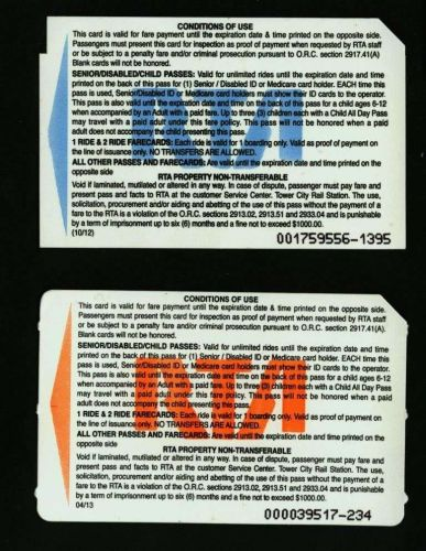 TRANSIT METROCARD RTA .OHIO.CLEVELAND.Set of 2 cards.
