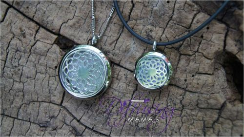 Large Flower Diffusing Mama's Brand Essential Oils Aromatherapy Locket Necklace