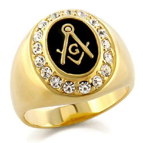 Gold Plated Masonic Ring Outlined with Cubic Zirconia