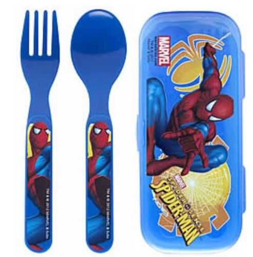 Spiderman Fork & Spoon W/Travel Case - Perfect for Super Hero Lunchbox! - New!