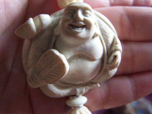 Happy Laugh Bone Early Plastic Chinese Beaded Hand Carved Buddha Necklace