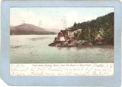 New York West Point Lighthouse Postcard View Down Hudson River From The Be~772
