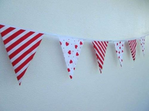 Lollipop Hanging Decoration,Red Heart Mini Fabric Bunting Banner by the Yard 35""