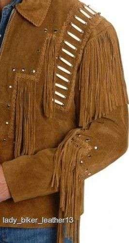 Mens Biker BRAIDED BONED Brown SUEDE Leather WESTERN FRINGE Motorcycle Jacket