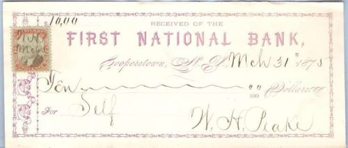 New York Cooperstown Cancelled Check First National Bank Check # Dated: Ma~37