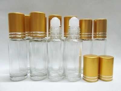 25 Empty Roll on Roller Ball Bottle Gold Cap Refill Perfume Fragrance Oil 5 ml.