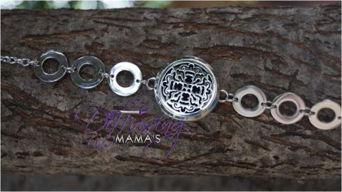 Old World Cross Diffusing Mama's Essential Oils Aromatherapy Locket Bracelet