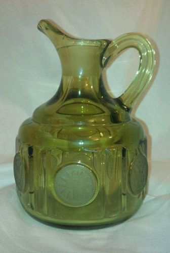 """Glass """"Jug"""" w/handle-Commemorative/ Collectable *US Seal Stamped 1887/Green*"""