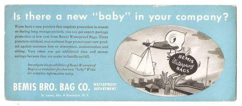 New York Brooklyn Ink Blotter Advertising Bemis Bro. Bag Co., Waterproof D~58