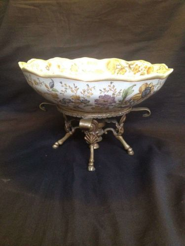 antique porcelain bronze mounted compote bowl
