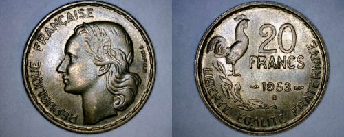 1953-B French 20 Franc World Coin - France